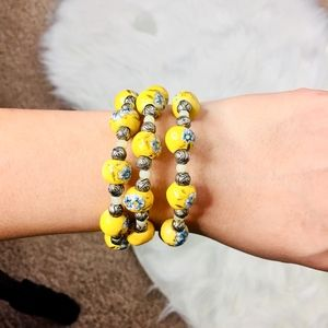 Jewelry - Handmade bracelet floral print yellow and blue